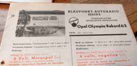 Einbauanleitung Opel Rekord Olympia 1963 Blaupunkt autoradio Mainz