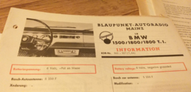 Einbauanleitung BMW 1500 / 1800 / 1800 T.I. 1964 Blaupunkt autoradio Mainz