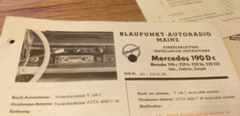 Einbauanleitung Mercedes  190 D c 1963 Blaupunkt autoradio Mainz