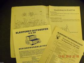 2) Bedienungsanleitung Schaltplan Schaltbild für BLAUPUNKT Autosuper A 52 KU, Borgward-Hansa