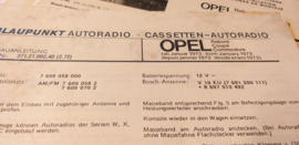 Einbauanleitung Opel Rekord Coupe Commodore 1972 Blaupunkt autoradio