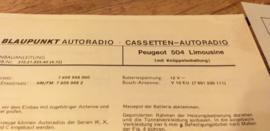 Einbauanleitung Peugeot 504  1972 Limousine Blaupunkt autoradio