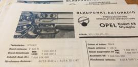 Einbauanleitung Opel Kadett Olympia 1968 Blaupunkt autoradio