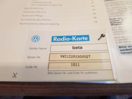 VW BETA 4 Radio Autoradio code card bedienungsanleitung