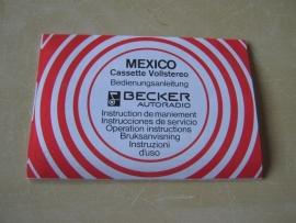 Becker Mexico cassette vollstereo radio gebruiksaanwijzing