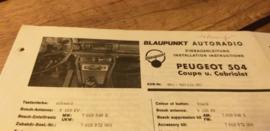 Einbauanleitung Peugeot 504  1969 Coupe Cabriolet Blaupunkt autoradio
