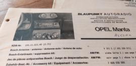 Einbauanleitung Opel Manta / Ascona 1971 Blaupunkt autoradio