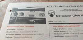 Einbauanleitung VW Karmann-Ghia 1500 Blaupunkt autoradio