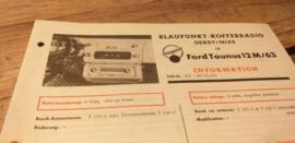 Einbauanleitung Ford Taunus 12 M 1963 Blaupunkt autoradio Derby / Nixe