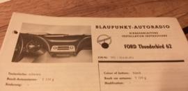 Einbauanleitung Ford Thunderbird 1962 Blaupunkt autoradio