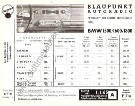 BMW Prijslijst  radio 1964