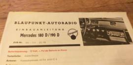 Einbauanleitung Mercedes 180 D /  190 D 1959 Blaupunkt autoradio