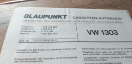Einbauanleitung VW 1303 Käfer Blaupunkt autoradio  #1