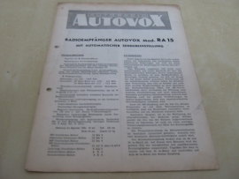 Gebruiksaanwijzing / schema Autovox RA 15