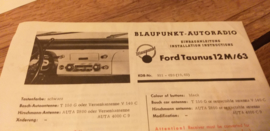 Einbauanleitung Ford Taunus 12 M 1963 Blaupunkt autoradio
