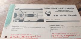 Einbauanleitung VW 1200 Käfer Blaupunkt autoradio 1958-1964