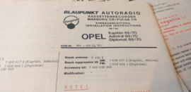 Einbauanleitung Opel Kapitän Admiral Diplomat 1969/70 Blaupunkt autoradio
