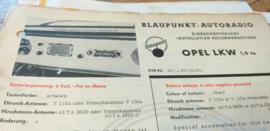 Einbauanleitung Opel LKW 1,9 to 1961 Blaupunkt autoradio
