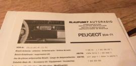 Einbauanleitung Peugeot 204  1970  Blaupunkt autoradio