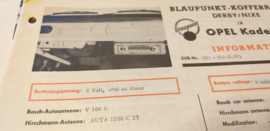 Einbauanleitung Opel Kadett 1963 Blaupunkt autoradio Derby / Nixe