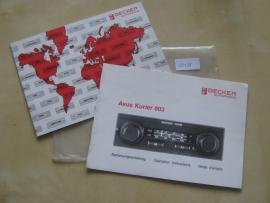 Becker Avus 803 Gebruiksaanwijzing