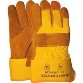 Werkhandschoen splitlederen winterhandschoen met gele kap