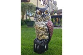 Vogelverschrikker Kunstof uil met beweegbaar hoofd