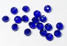 FCT08-12  10 x Facet geslepen glaskraal Diep Blauw 6x8mm