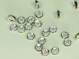 MTS32   5 x Metalen kraal  met Strass verschillende kleuren 6 x 3mm