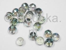 FCR10-09  5x Facet geslepen Rond 10mm groen/grijs/transp.