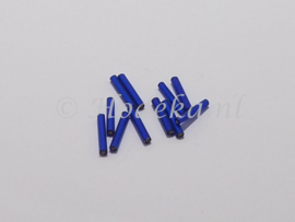 PRS03 Preciosa Bugle Staaf Paars/Blauw Silverlined recht 15 mm 10 gr.