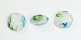 PLR06a  15 x Glaskraal Plat Rond Groen, Wit en Blauw 20mm