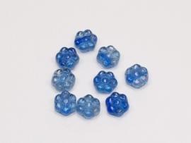 GKO04   20 x Glaskraal Bloem Blauw 8mm