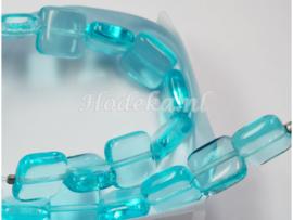 CZC02  10 x Tsjechische Glaskraal Plat Vierkant 9 x 4 mm Blauw