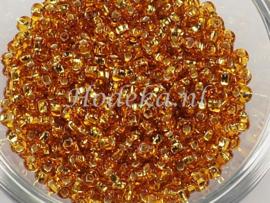 CRP08/54a  50 gram Preciosa Rocailles 8/0 Goud Silverlined
