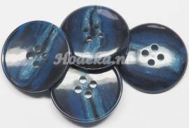 KNO115  1 x  gemêleerde knoop in  Blauw tinten ca. 25 mm