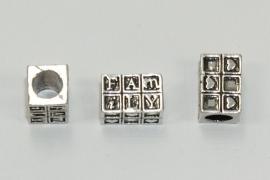 PDM13 1 x pandora style metalen kraal Rechthoek *Family & hartjes*