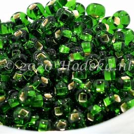 CRP06/63a  50 gram Preciosa Rocailles 6/0  Groen silverlined