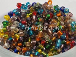 CNR06/25  Rocailles 50 gram kleurenmix Zilveren kern 6/0