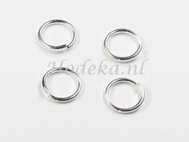 BHR26  30 ringetjes 9mm zilver kleur