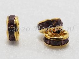 MTS37  4 x Goud Kleurige Metalen kraal met strass Paars 8 x 3.5 mm