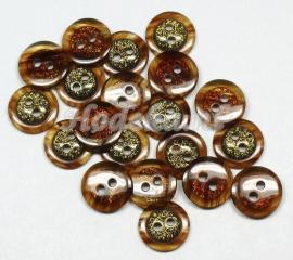 KNO39  1 x  Bruin/ gouden knoop ca. 11.5 x 3.5 mm