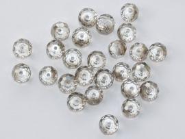 FCT08-08  10 x Facet geslepen glaskraal Rondel Transparant en zilver 6x8mm