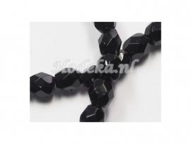 CZF12  20 x Tsjechische Glaskraal Facet geslepen Rond 4mm Zwart