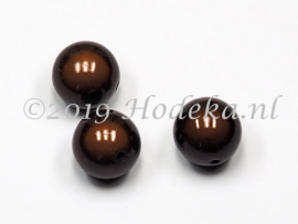 MIR18/08  2 x Miraclebead Donker Bruin 18mm