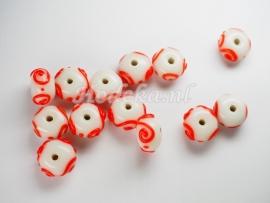 GLP10   1 x Glaskraal Rondel Wit met Oranje/Rode slinger 8 x 13 mm