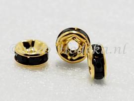 MTS35  5 x Goud kleurige metalen kraal met strass Zwart 6 x 3 mm