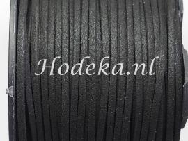 BSV05 1 meter imitatie Suede Veter Zwart 4mm
