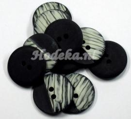 KNO80  1 x Zwart met Roomwitte knoop ca. 28 mm