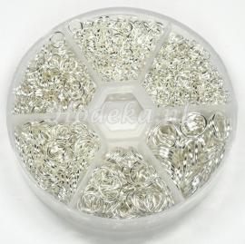 ABX02 assortiment box met ca 1000 ringetjes licht zilver